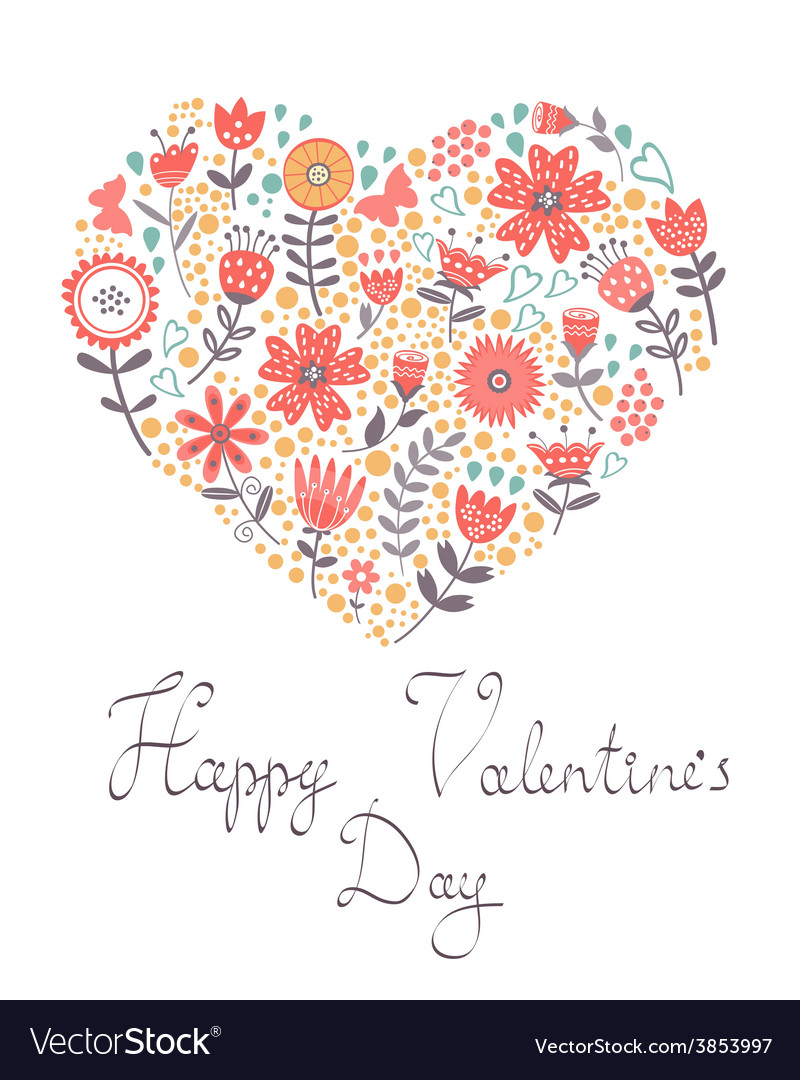 Valentines day card with floral heart vector | Price: 1 Credit (USD $1)