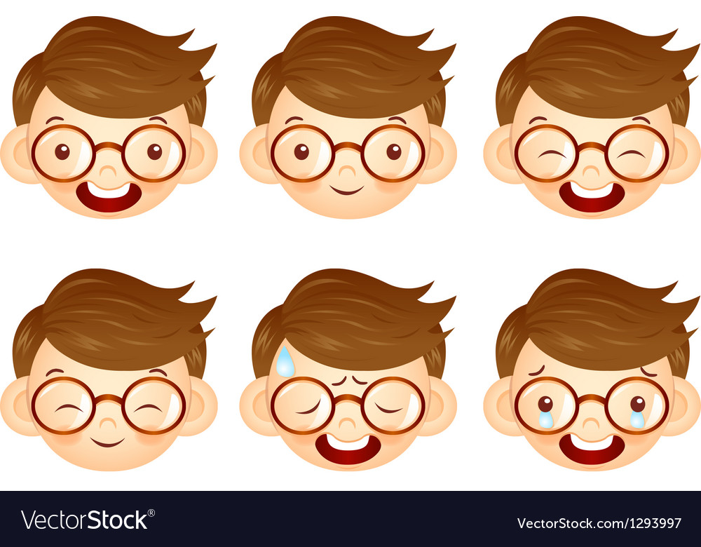 Various facial expressions of kids vector | Price: 1 Credit (USD $1)