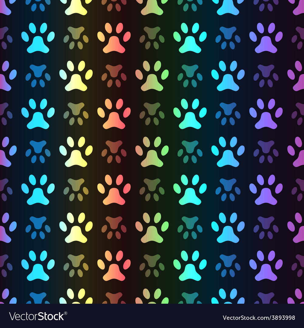 Animal seamless spectrum pattern of paw vector | Price: 1 Credit (USD $1)