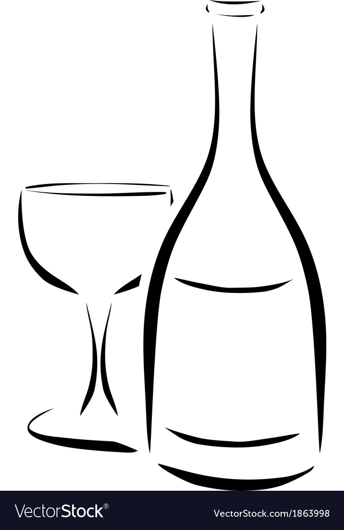 Bottle and wineglass vector | Price: 1 Credit (USD $1)