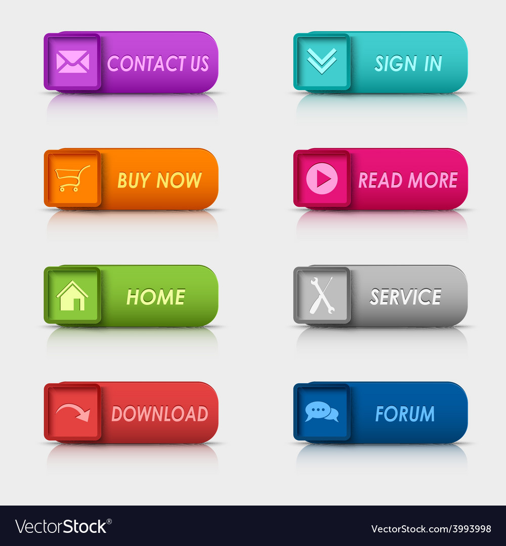 Colored set rectangular square web buttons element vector | Price: 1 Credit (USD $1)