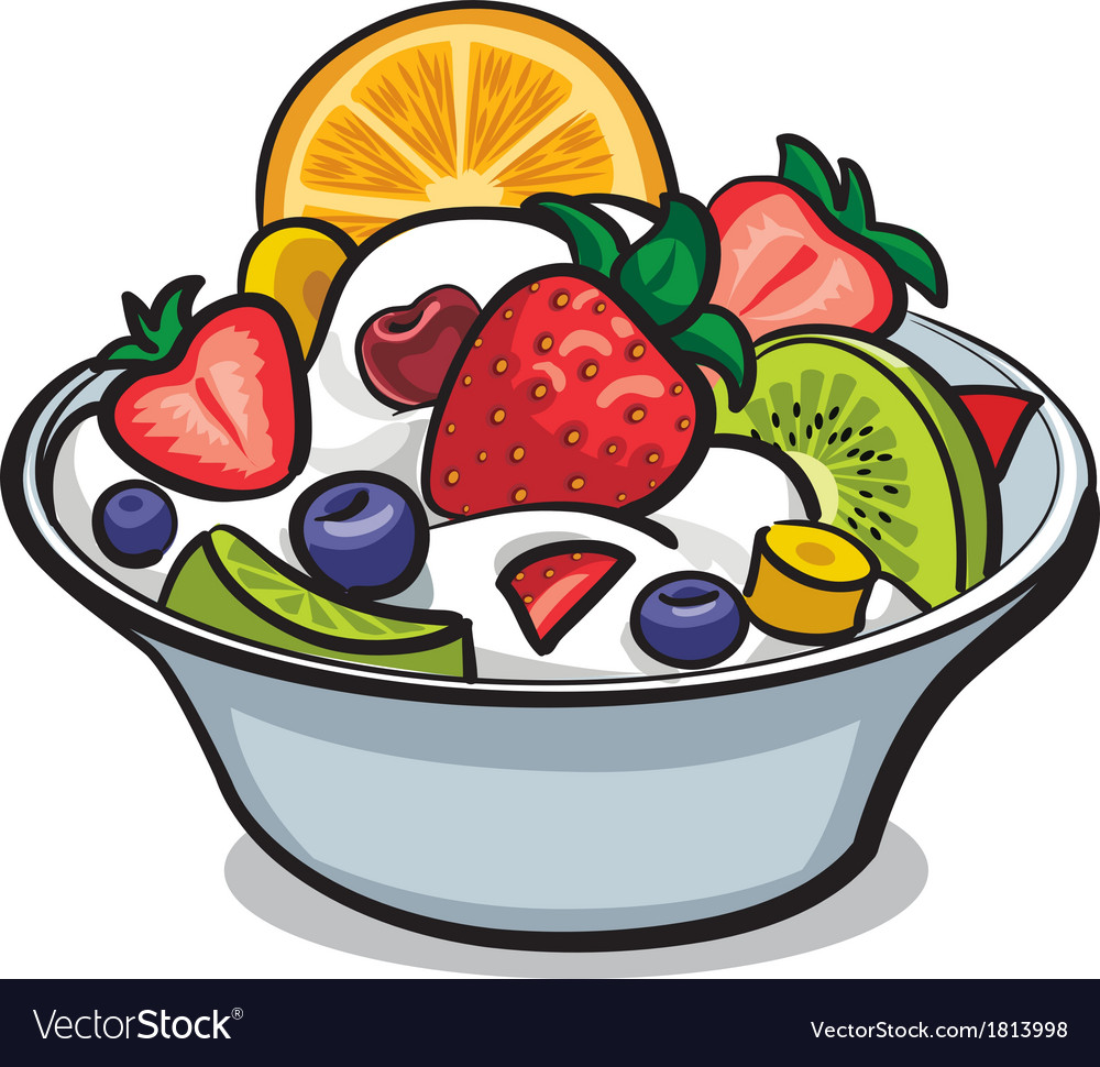 Fruit yogurt salad vector | Price: 1 Credit (USD $1)