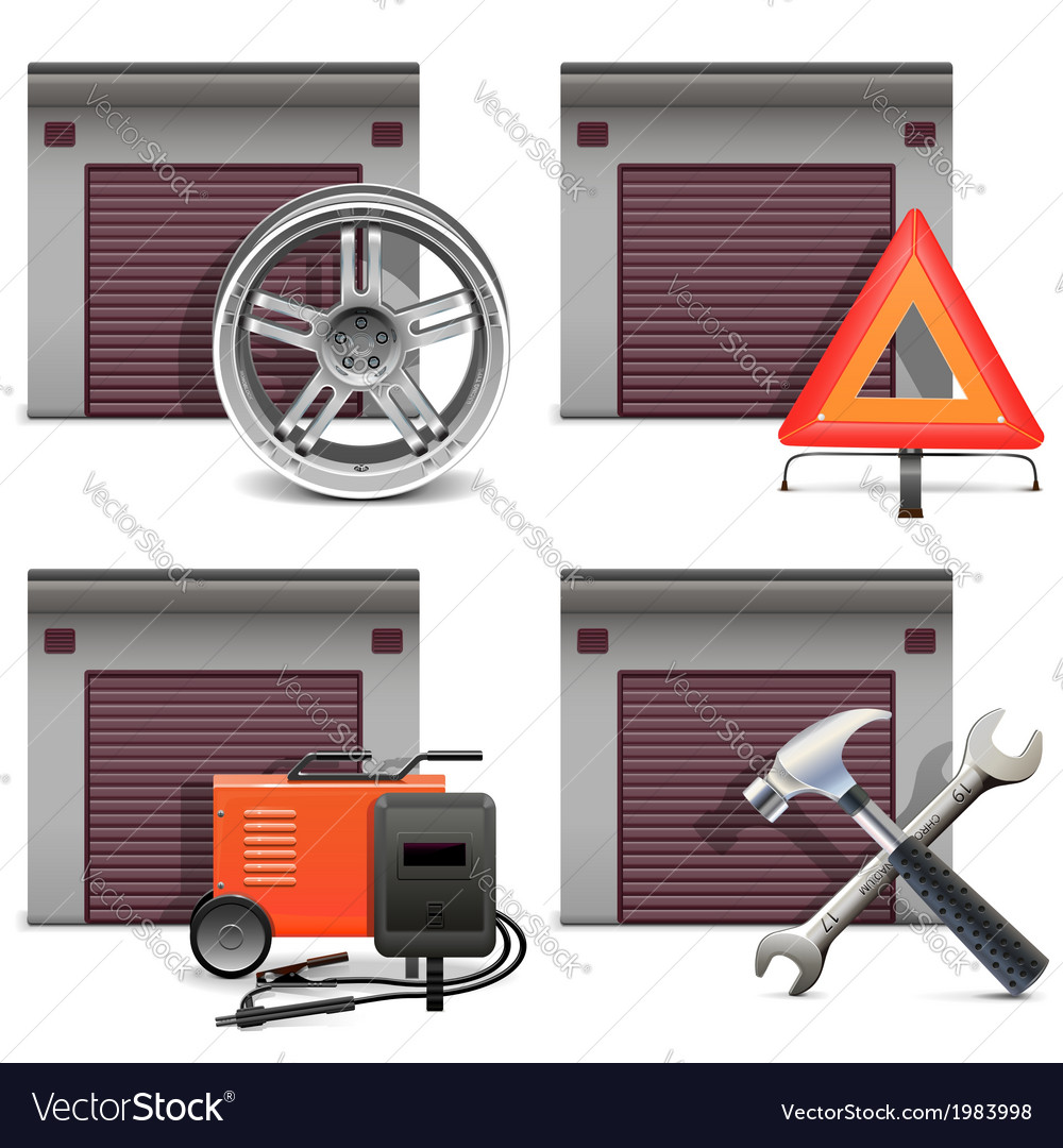 Garage icons set 3 vector | Price: 1 Credit (USD $1)