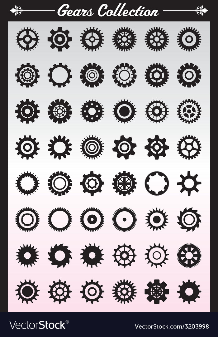 Gears collection vector | Price: 1 Credit (USD $1)