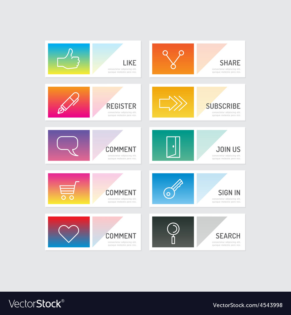 Modern banner button with social icon design optio vector | Price: 1 Credit (USD $1)