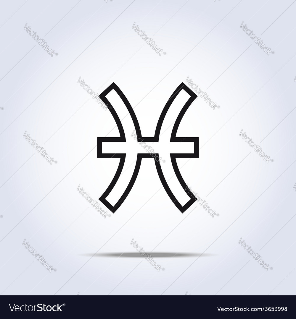 Pisces zodiac sign gray color vector | Price: 1 Credit (USD $1)