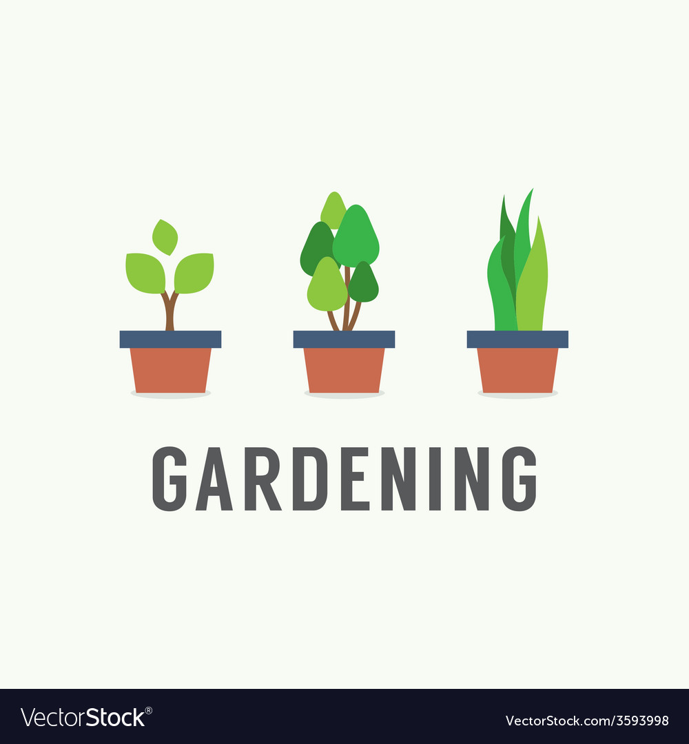Pot plants gardening concept vector | Price: 1 Credit (USD $1)