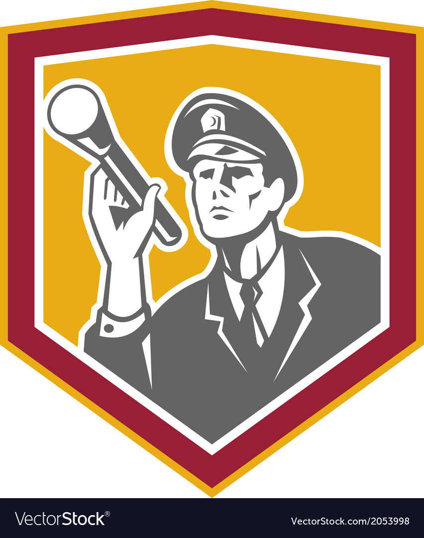 Security guard with flashlight shield retro vector | Price: 1 Credit (USD $1)