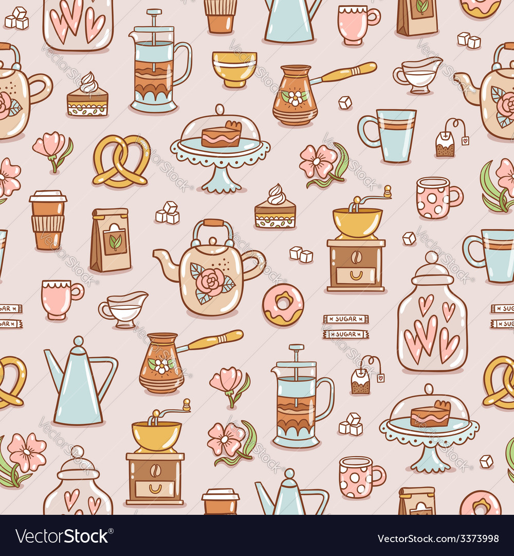 Tea coffee and desserts seamless pattern vector | Price: 1 Credit (USD $1)