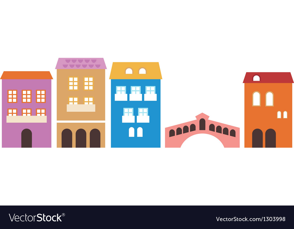 Venetian colorful houses isolated on white vector | Price: 1 Credit (USD $1)