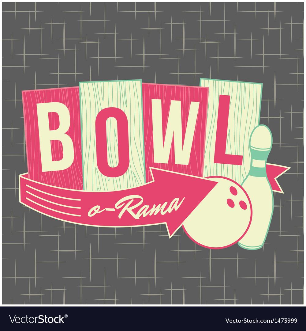 1950s bowling style logo design vector | Price: 3 Credit (USD $3)