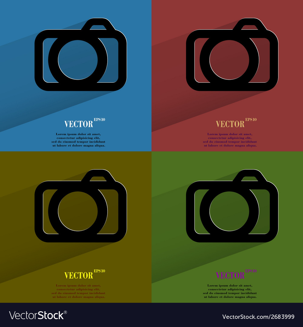 Color set camera flat modern web button with long vector | Price: 1 Credit (USD $1)