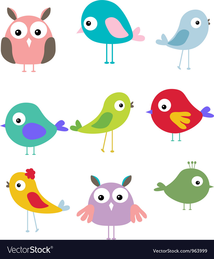 Cute bird cartoon set vector | Price: 1 Credit (USD $1)