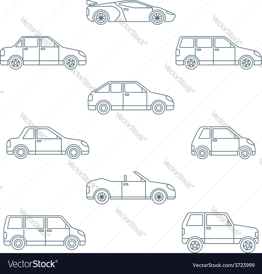 Dark outline various body types of cars icons vector | Price: 1 Credit (USD $1)