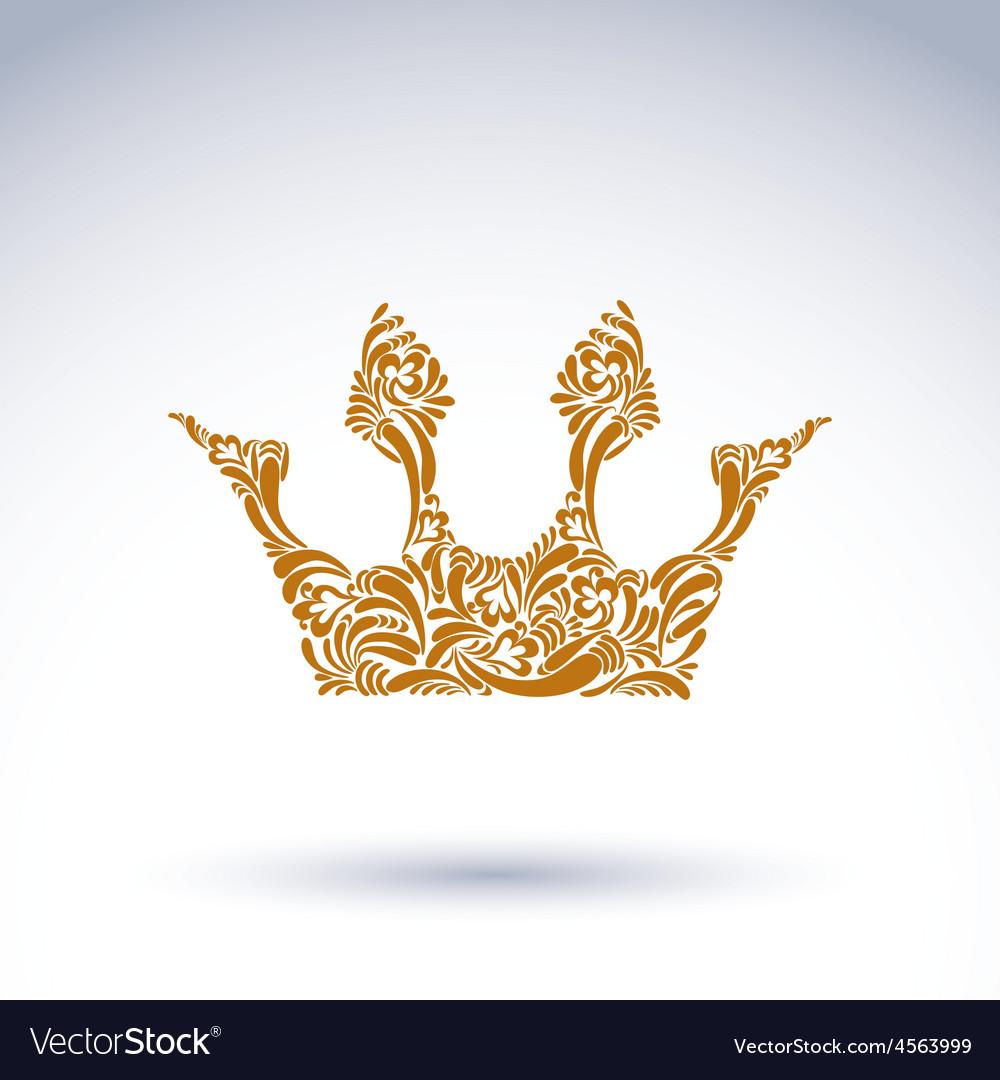 Flower-patterned crown art royal symbol king vector   Price: 1 Credit (USD $1)