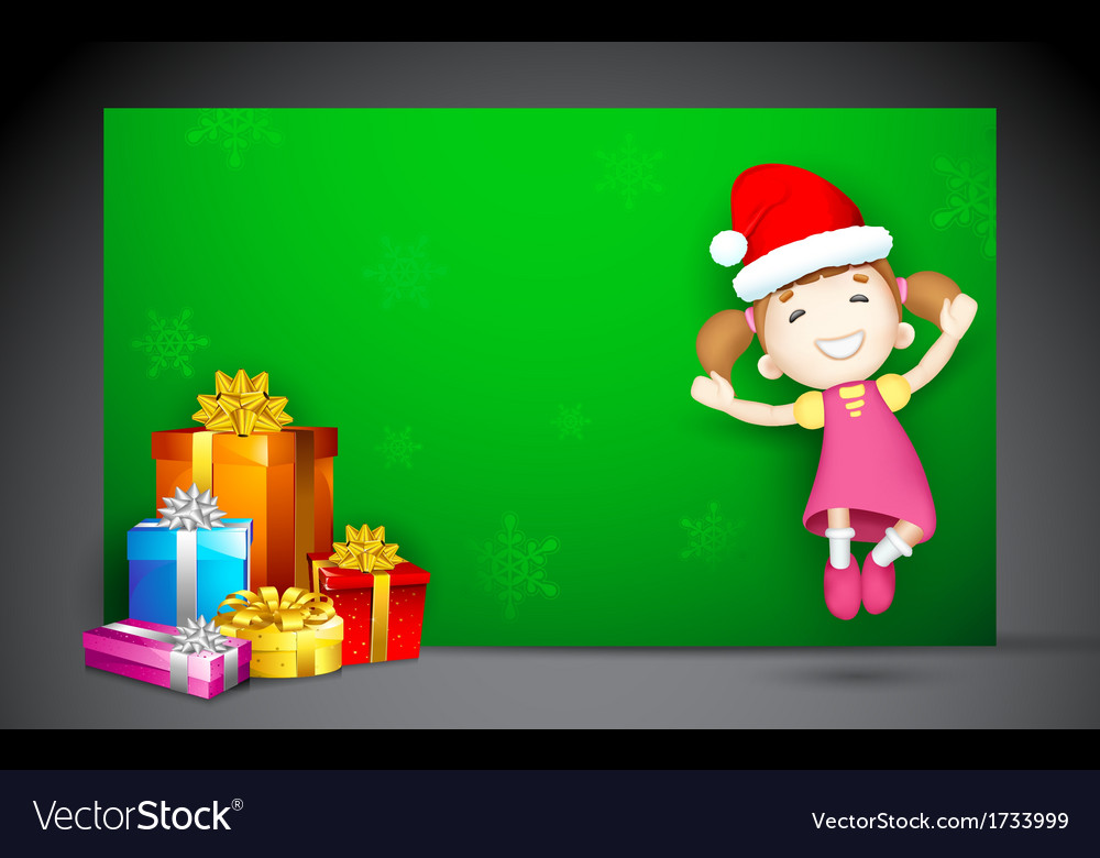 Girl jumping with gift vector | Price: 1 Credit (USD $1)