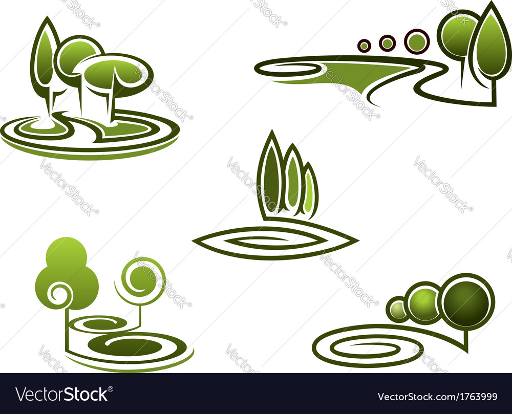 Green trees elements for landscape design vector | Price: 1 Credit (USD $1)