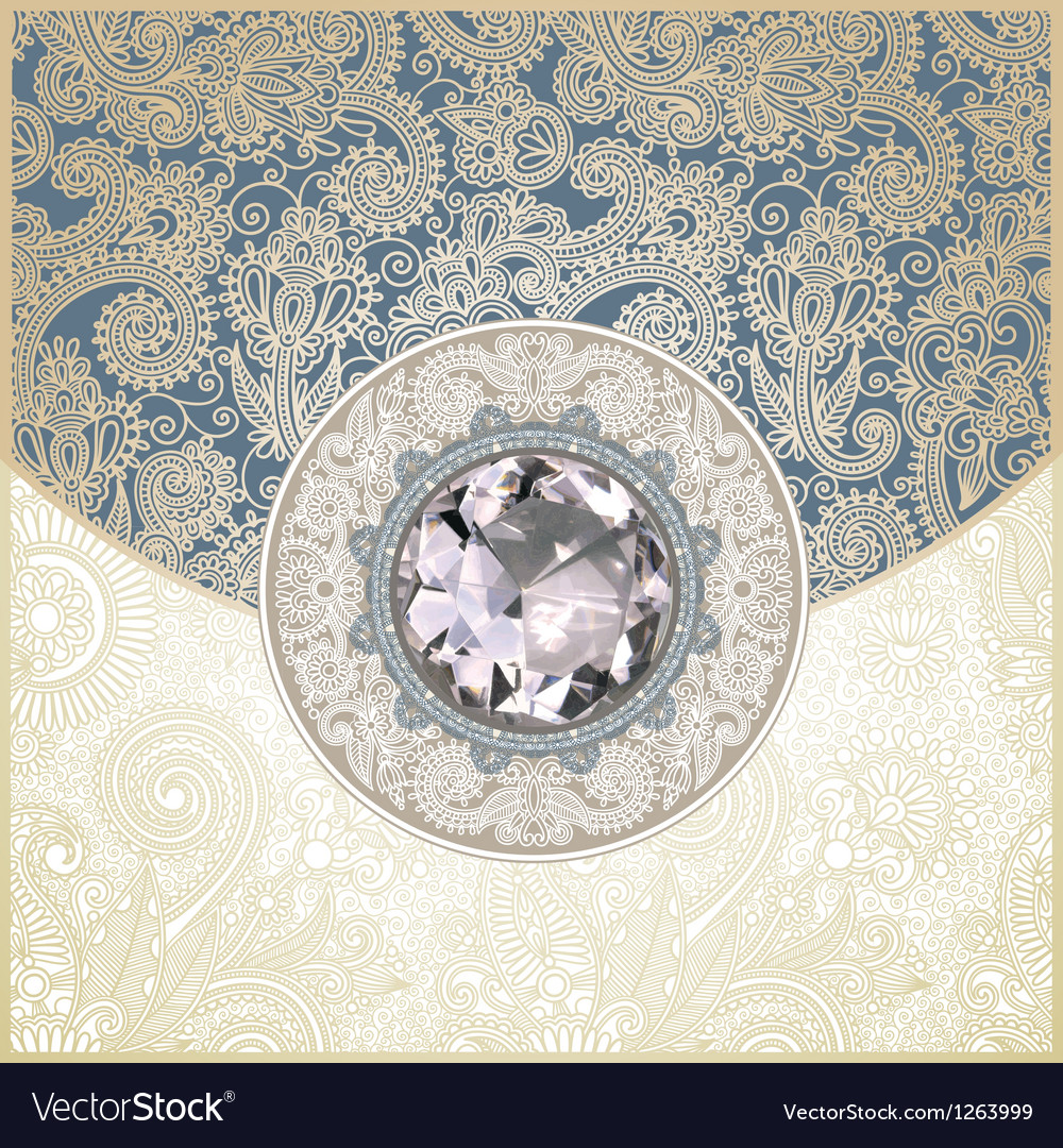 Ornate floral background with diamond jewel vector | Price: 1 Credit (USD $1)