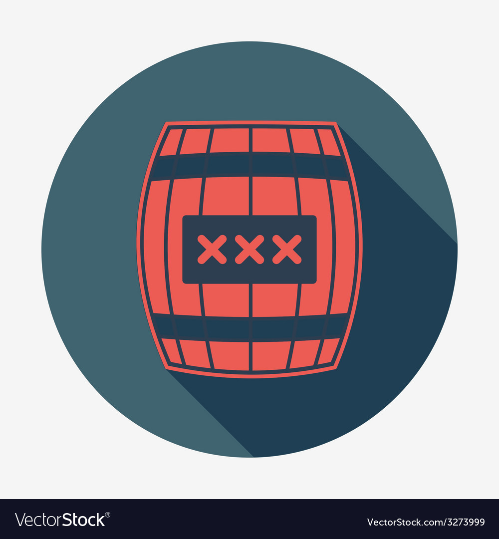 Pirate icon with long shadow cask or barrel flat vector | Price: 1 Credit (USD $1)