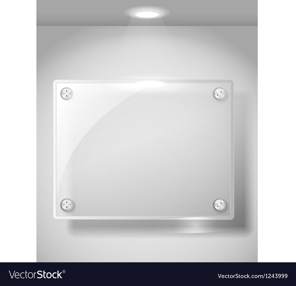 Square advertising glass board with a spot lignt vector | Price: 1 Credit (USD $1)