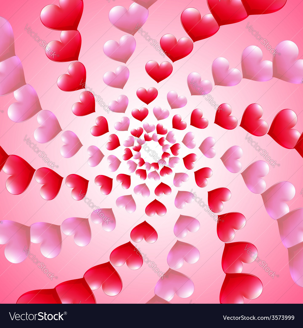 Valentines day card with spiral heart rows vector | Price: 1 Credit (USD $1)