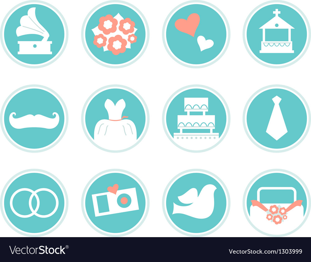 Wedding icons in retro style isolated on white vector | Price: 1 Credit (USD $1)