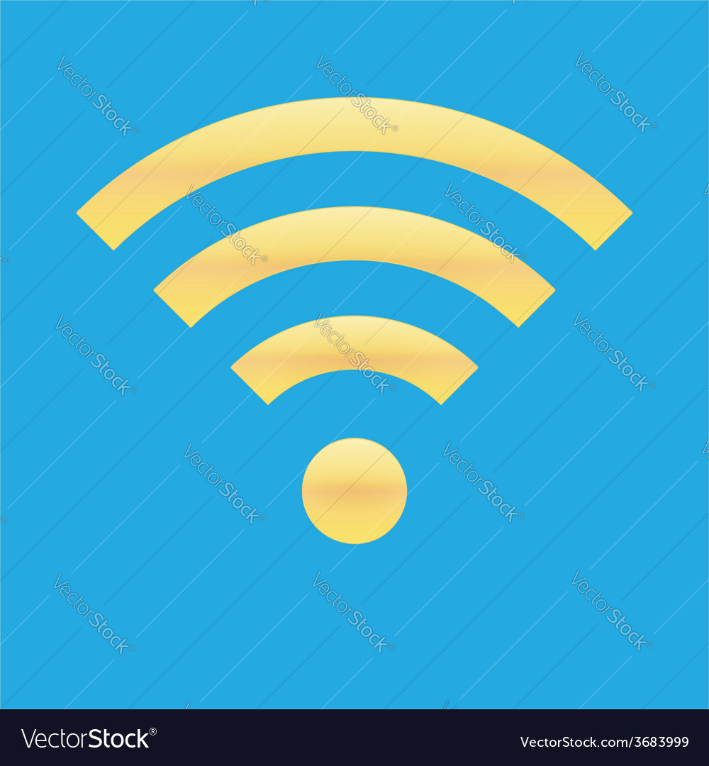 Wifi icon blue yellow color vector | Price: 1 Credit (USD $1)