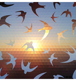 Swallow silhouette on triangle sky and sun vector