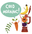 Good morning card with cute fruit vector