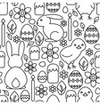 Seamless pattern of easter symbols line art vector