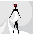 Beautiful girl in a white dress vector