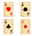 Blank old play cards four aces vector
