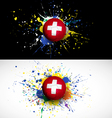 Switzerland flag with soccer ball dash on colorful vector