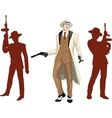 Caucasian mafioso godfather with crew silhouettes vector