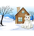 A polar bear outside the wooden house vector