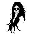 Long hair skull queen ugly face like satan vector