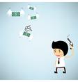 Shoot the gun at dollar bank flying with wings vector