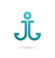 Letter j anchor logo icon design template elements vector