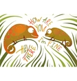 Two childish colorful lizards greeting with signs vector