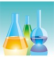 Color chemical flasks vector