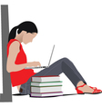 Woman studying vector