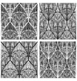 Hand drawn seamless eastern floral patterns monoch vector
