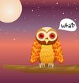 Cute owl on night sky vector