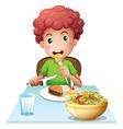 A boy eating vector