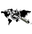 World map under magnifying glass vector