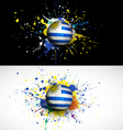 Uruguay flag with soccer ball dash on colorful vector