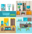 Interior rooms furnishing 4 flat icons vector