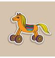 Wooden horse sticker vector