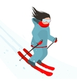 Young sporty girl skiing downhill in mountains vector