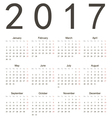Simple european square calendar 2017 vector
